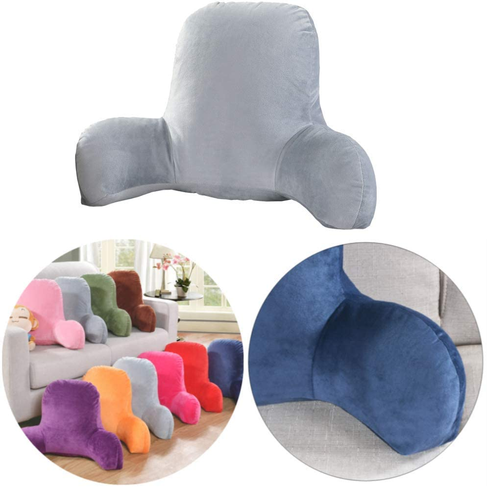 Large Comfort Plush Big Backrest Reading Rest Pillow Support Chair Cushion with Arms Lumbar Pillow - Read Lounge or Work in Bed Support Cushion