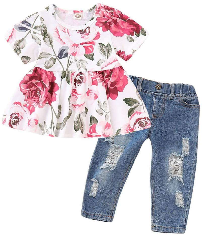 Little Story 6M-3T Childrens Girls Short-Sleeved Floral top + Ripped Jeans Two-Piece Suit Baby Girls Floral Crop Tops+Hole Denim Pants Jean Toddler Kids Clothes Sets