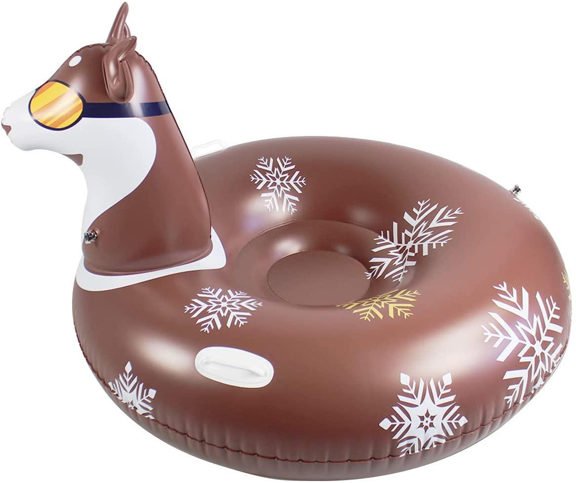 Chennie Sled Husky Snow Tube Inflatable, Husky Winter Snow Tube Inflatable Sled Summer Pool Float with Grip Handles for Adults