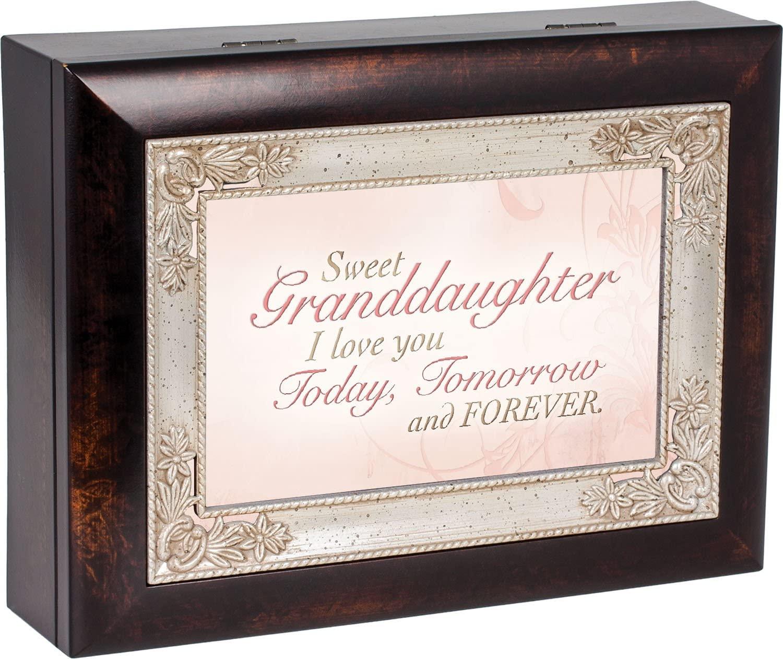 Cottage Garden Sweet Granddaughter Dark Wood Finish Jewelry Music Box Plays Tune You are My Sunshine