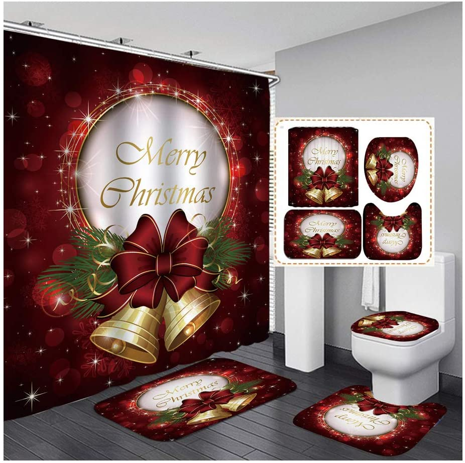 Vienlove Merry Chrismas Shower Curtain Set Waterproof Shower Curtain with Non-Slip Rugs, Toilet Lid Cover and Bath Mat 4 Packs with 12 Hooks