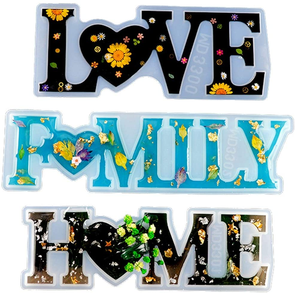 Hawiton Silicone Casting Molds, Resin Molds DIY Crafts Letter Home,Love & Family Resin Word Sign Molds, Epoxy Resin Casting Molds Model DIY Home Decoration Gift