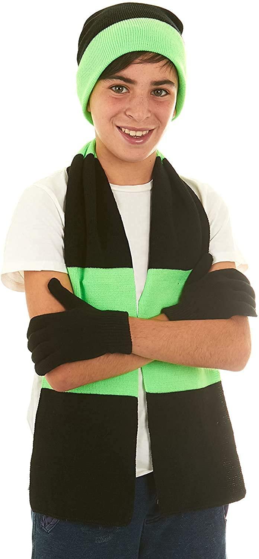 Polar Wear Boys Knit Hat, Scarf and Gloves Set - Black/Royal