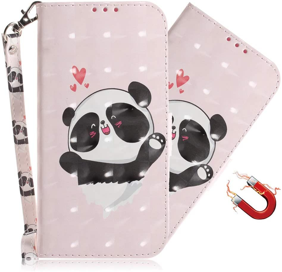 MEIKONST Case for Galaxy A10/ M10, 3D Love Panda Colorful Painted PU Leather Wallet Flip with Card Holder Kickstand Book Style Magnetic Cover for Samsung Galaxy A10/ M10, TXn Love Panda