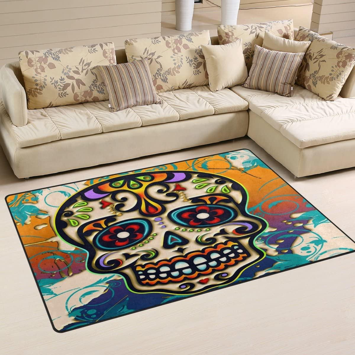 WOZO Dia De Los Muertos Sugar Skull Area Rug Rugs Non-Slip Floor Mat Doormats Living Dining Room Bedroom Dorm 60 x 39 inches inches Home Decor