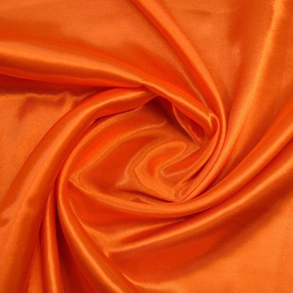 """mds Pack of 90 Yard Charmeuse Bridal Solid Satin Fabric for Wedding Dress Fashion Crafts Costumes Decorations Silky Satin 44""""- Orange"""