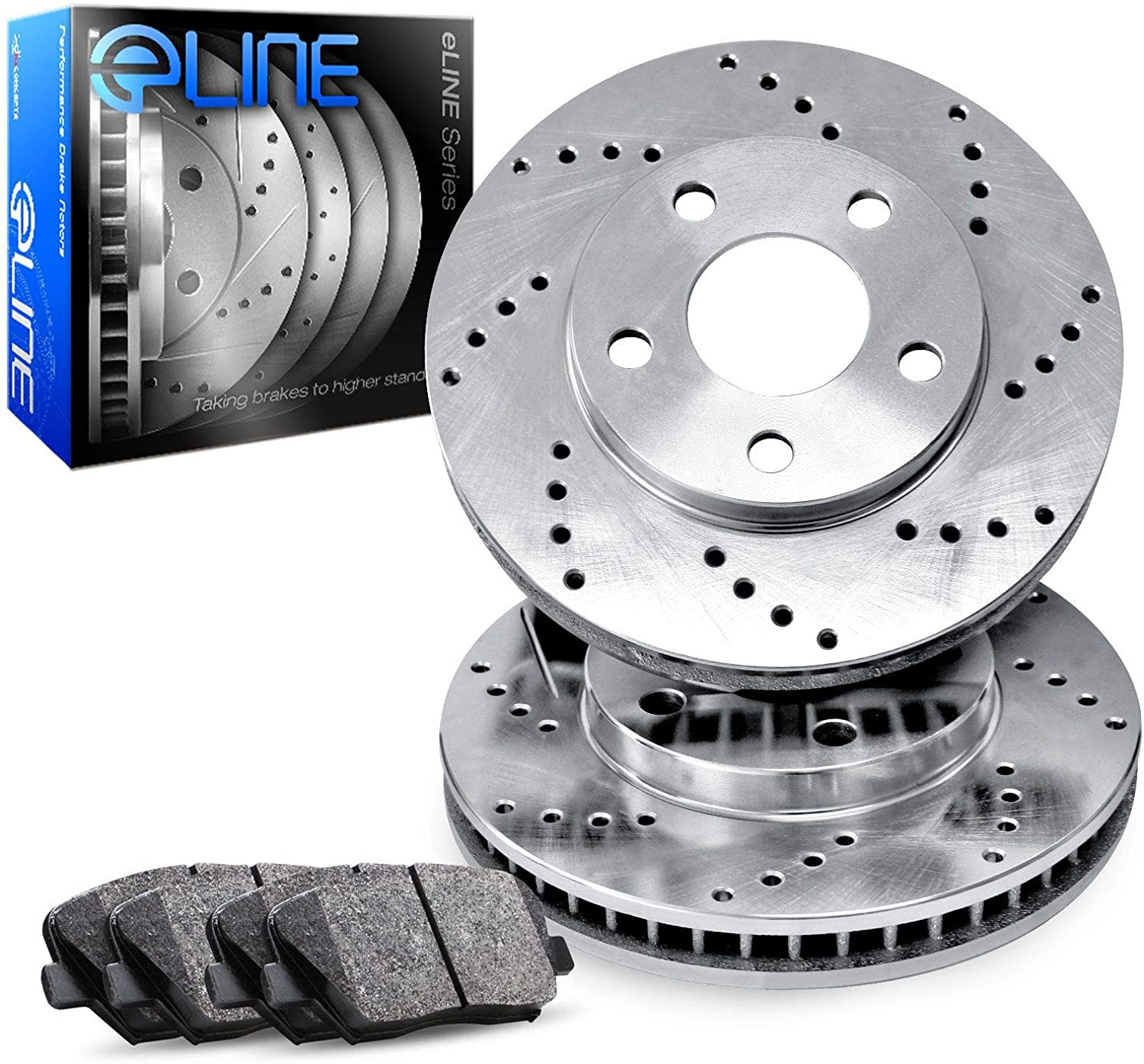 For 2005-2008 Porsche Boxster, Cayman R1 Concepts eLine Front Drilled Brake Rotors Kit + Semi-Met Pads