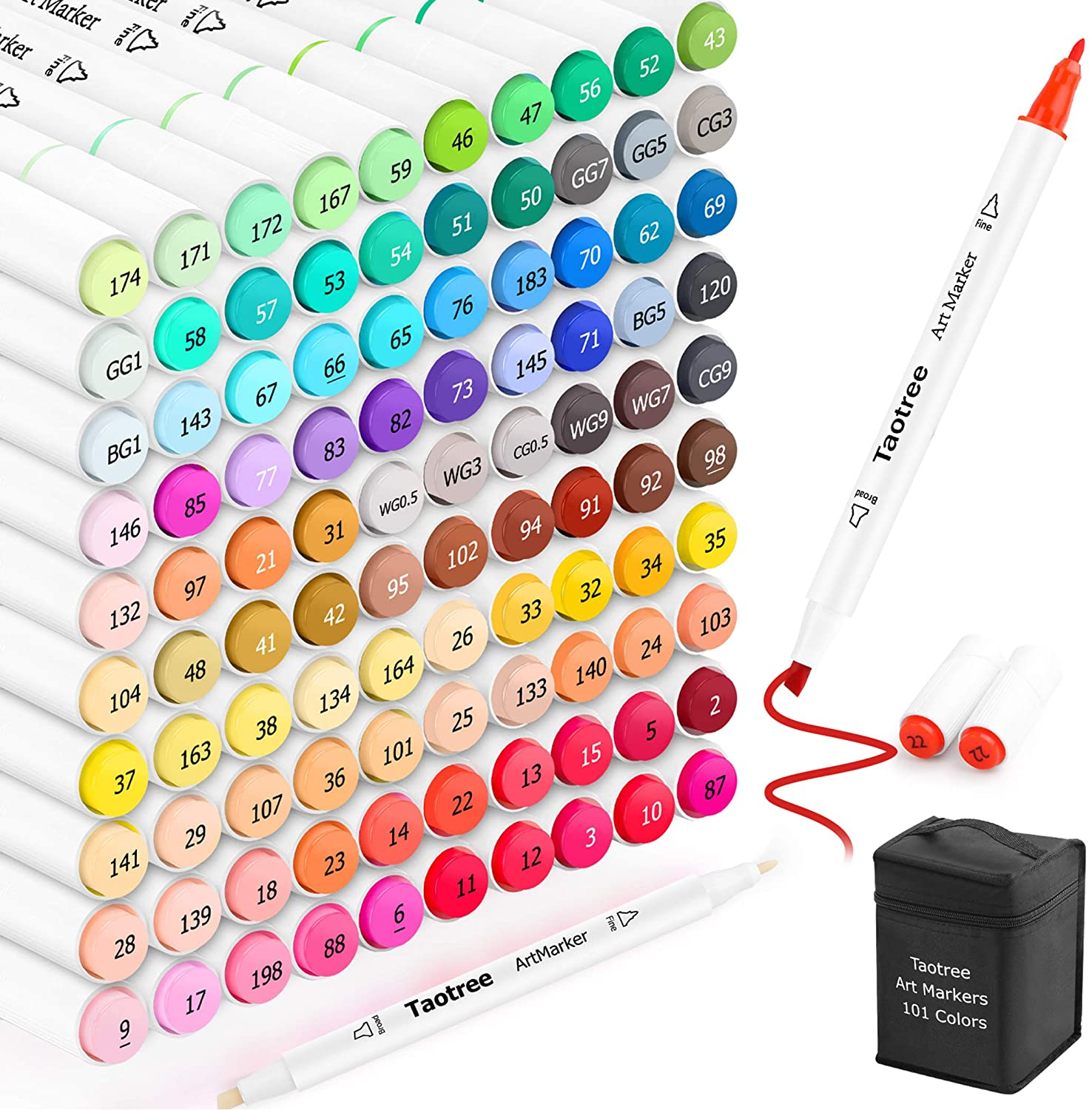 Taotree 101 Colors Alcohol Based Markers, Dual Tips Permanent Art Markers Highlighter Pen Sketch Markers for Kids Adult Coloring Drawing Sketching Illustration and Card Making
