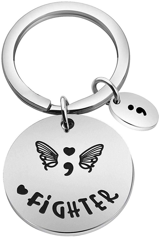KUIYAI My Story Isn't Over Yet Inspired Necklace Keychain Depression Awareness Semicolon Jewelry