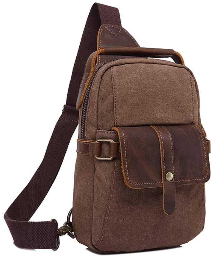 BRASS TACKS LEATHERCRAFT Men's Sling Bag Canvas and Genuine Leather Chest Shoulder Backpack Water Resistant Travel Crossbody Bag Hiking Daypacks