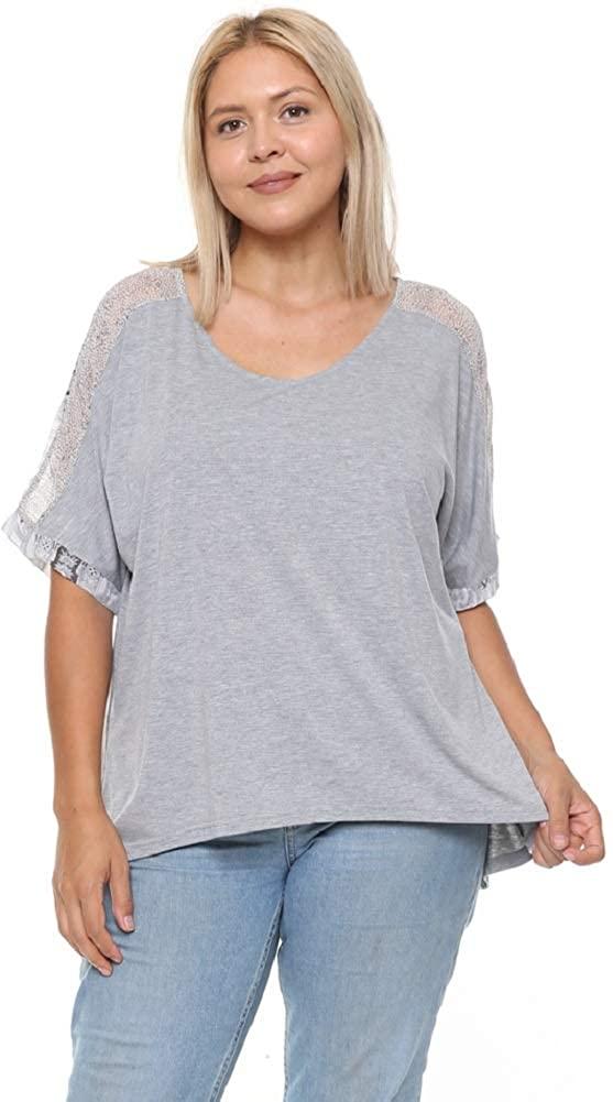DAMOA Women's T Shirt Top - Plus Size Casual Short Sleeve Contrast Chiffon Print V Neck Summer Tunic Blouse Tee Tshirt