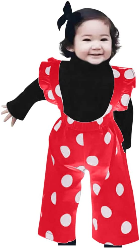 Little Story 6M-4T Childrens Long-Sleeved Frill Solid Color Shirt top + Polka dot Overalls Toddler Baby Girls Ruffles Solid T-Shirt Tops+Dot Print Suspender Pants Outfits