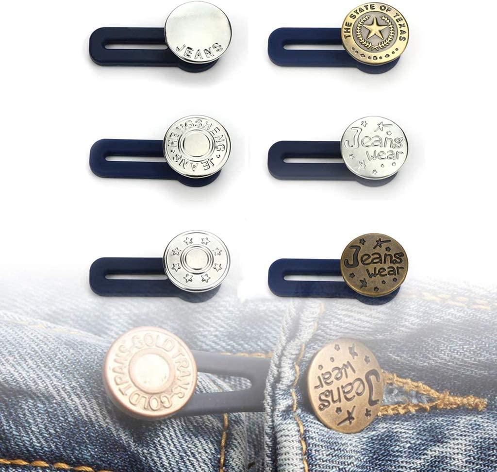 6 Pants Extender Buttons,Jeans Waist Extender Metal Button Extender for Men's and Women's Denim Skirts and Trousers Neckline Cuffs.