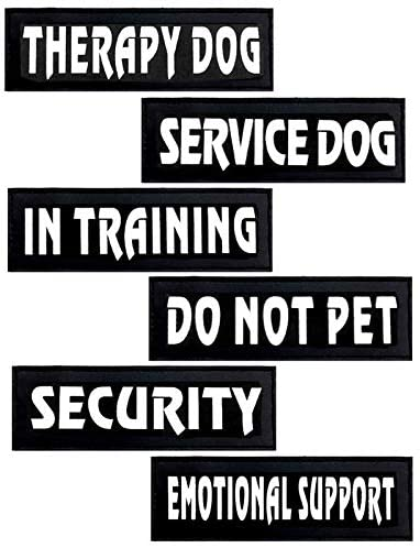 DERUILA Reflective Dog Patches with Hook Backing -Service Dog, in Training, Do Not Pet, Emotional Support, Therapy Dog, in Training for Animal Vest Harnesses, Collars, Leashes Dog Patches