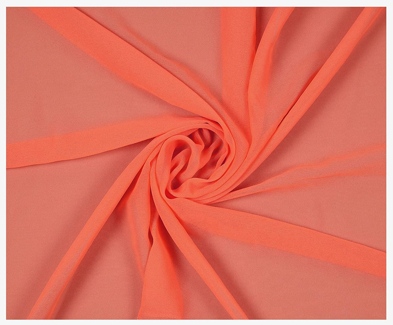 "mds Pack of 50 Yard Bridal Solid Chiffon Fabric, Vintage Sheer Fabric Bolt for Wedding Dress, DIY Decoration, Sheer, Crafts, Silky Chiffon Fabrics 44"" - Oarnge"
