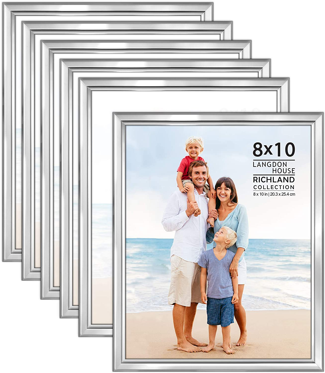 Langdon House 8x10 Picture Frames Set (Silver, 6 Pack) Distinguished Edging for Classic Style, Richland Collection