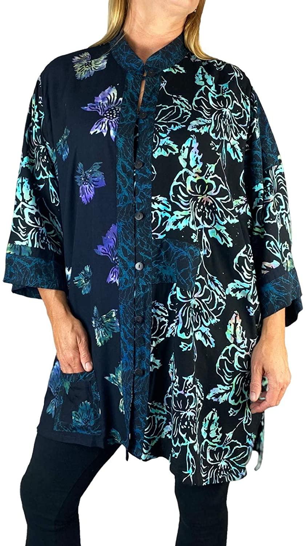 Women's Plus Size Blouse - Blue Butterfly-Paradise Combo Orinda Blouse L, XL, 0X, 1X, 2X, 3X, 4X, 5X, 6X
