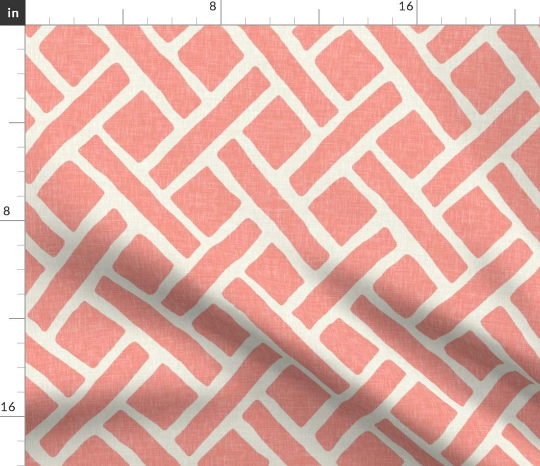 Spoonflower Fabric - Trellis Light Coral Lattice Modern Printed on Cotton Spandex Jersey Fabric by The Yard - Fashion Apparel Clothing with 4-Way Stretch