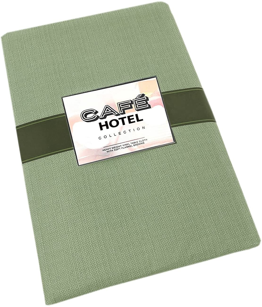 Cafe Hotel Linen Look Solid Color Heavy 4 Gauge Vinyl Flannel Backed Tablecloth, Indoor/Outdoor Wipe Clean Tablecloth, 60 Inch x 120 Inch Oblong/Rectangle, Sage