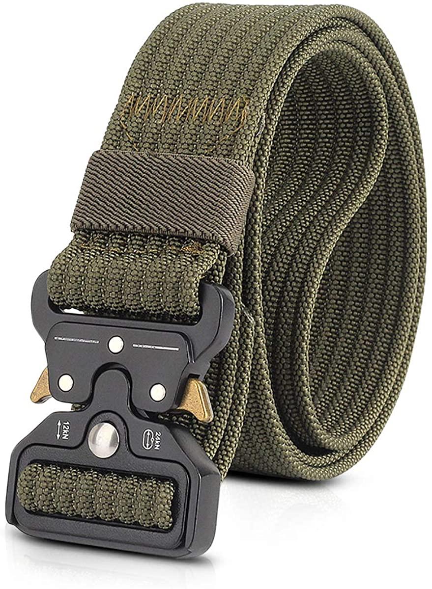 LumiSyne Men Tactical Belt 1.5 Inch Heavy Duty Belt Nylon Military Belt Quick-Release Metal Buckle for Molle Sport