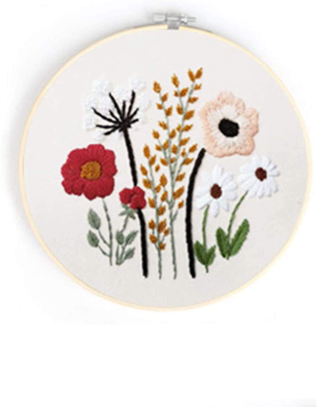 Embroidery Kit for Beginner Flowers Pattern Cross Stitch Adults Needlepoint Kit Funny DIY Embroidery Cross Stitch Kit Set for Beginners-Handmade Embroidery DIY Craft (S301)