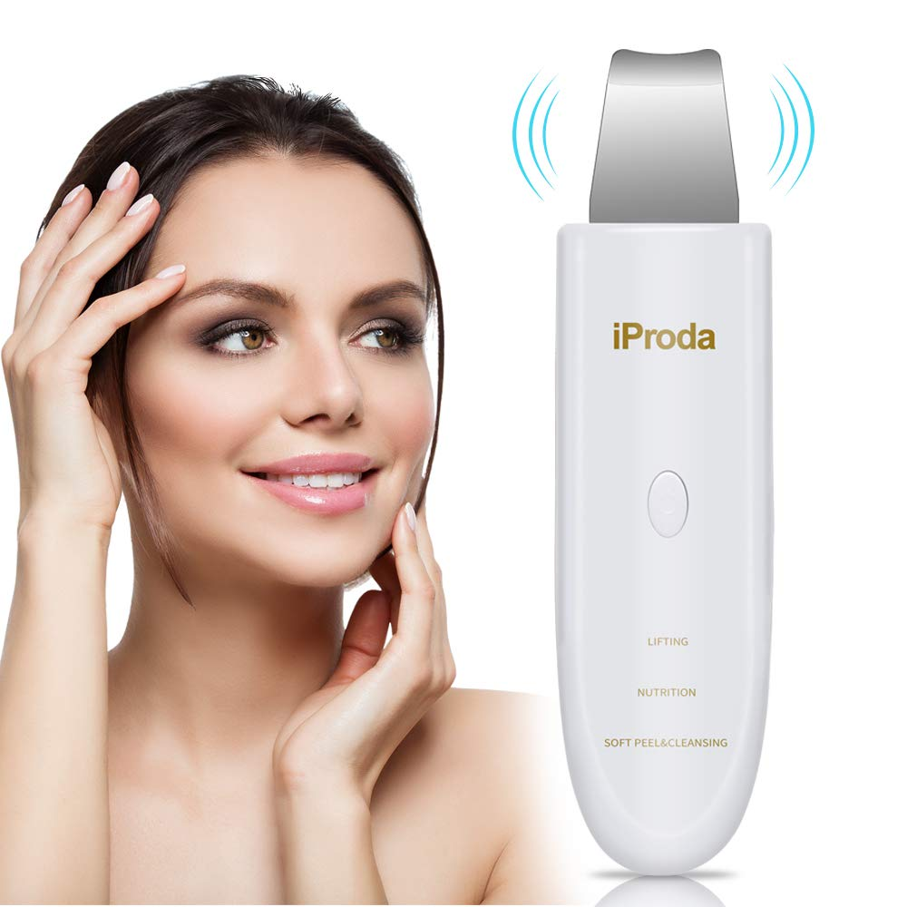 iProda Skin Scrubber, Blackhead & Whitehead Comedone Extractor, with 3 Mode (LIFTING, NUTRITION, CLEANSING), Waterproof and Chargable, the Best Facial Scrubber, Fit for Women and Men (White)