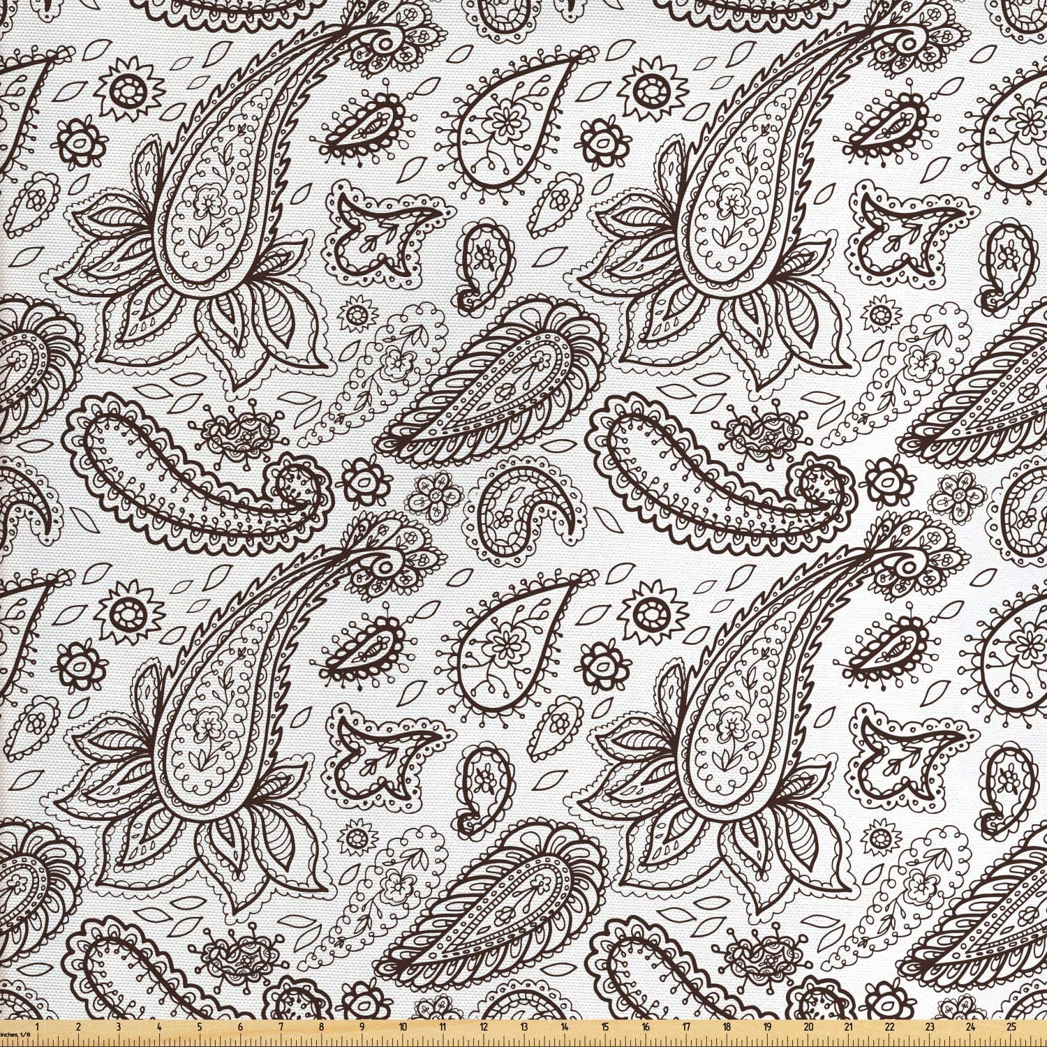 Ambesonne Brown Paisley Fabric by The Yard, Classical Almond Like Shape Zentangle Look Fashion Print on Plain Background, Decorative Fabric for Upholstery and Home Accents, 1 Yard, Brown White
