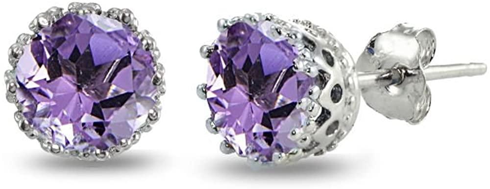 Sterling Silver Genuine, Created or Simulated Birthstone Gemstone Crown Stud Earrings