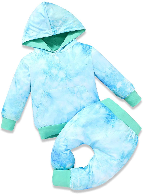 Baby Boys Girls Fall Outfits Tie Dye Hoodie Sweatshirt Long Sleeve Sweatsuit Tops Cotton Pants 2pcs Winter Clothes