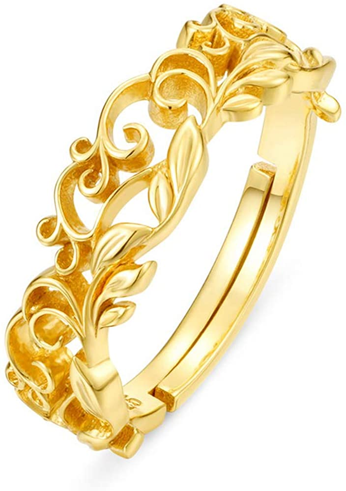 Ring,Tree Leaf Vine Forest Filigree Ring,925 Sterling Silver Ring,Gold Plated Adjustable Stackable Ring for Women