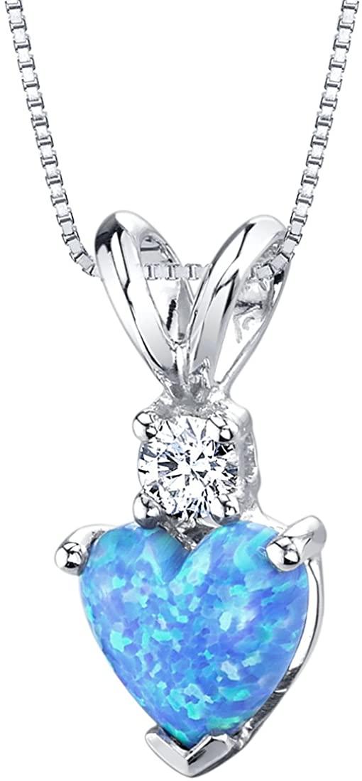 14 Karat White Gold Heart Shape Created Blue Opal Diamond Pendant