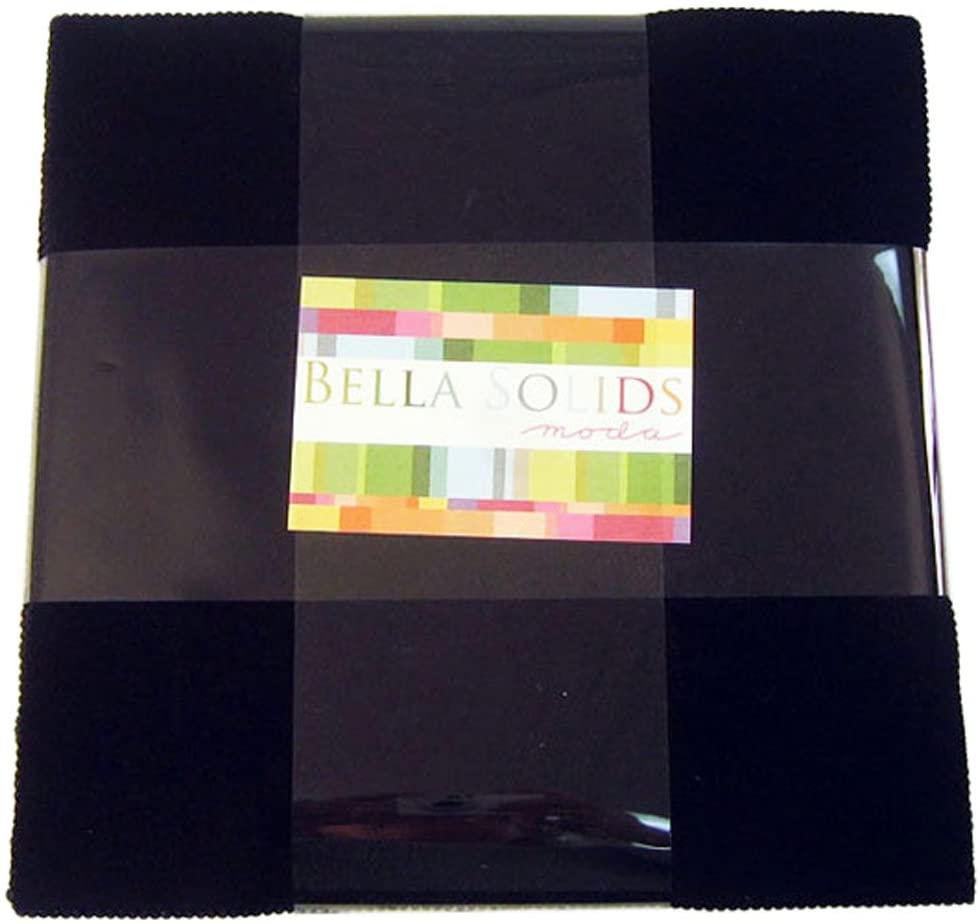 Moda BELLA SOLIDS BLACK Layer Cake 10 Fabric Quilting Squares 9900LC-99 by Moda Fabrics