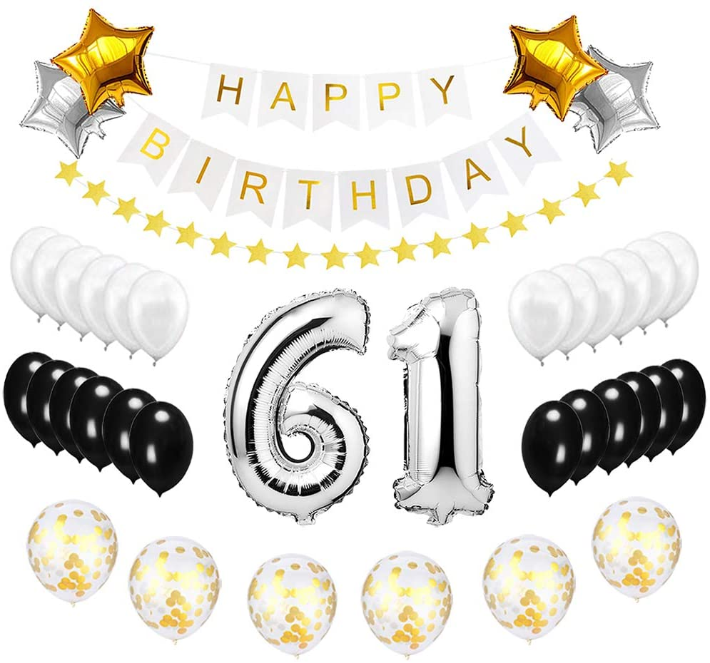 Best Happy to 61st Birthday Balloons Set - High Quality Birthday Theme Decorations for 61 Years Old Party Supplies Silver Black Gold