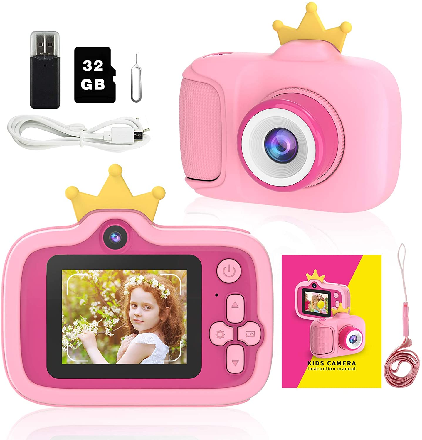 Kids Camera Digital Selfie HD Video for Girls Kids Portable Toddler Dual Camera with 1080p 32GB SD Card 2.0 Inch IPS Screen Christmas Birthday Gifts Toy Camera for Child 3-12 Year Old (Pink)