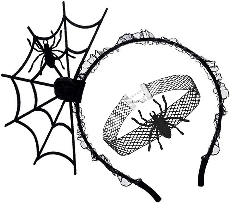Halloween Spider Hair Hoop Headband Choker Necklace Set Cosplay Devil Headban.