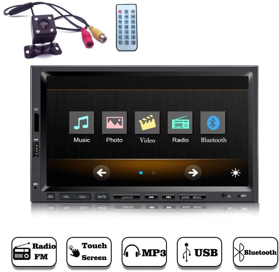 YODY Double Din Car Stereo with Bluetooth 7 Inch Touch Screen Car Audio 1080P Videos Car Media Player,MP3/MP5/FM Radio/USB/TF/SWC,Wireless Remote Control+Free Backup Camera