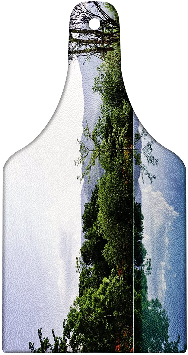 Lunarable Holiday Cutting Board, Cloud and Tree Reflections on the Infinity Pool Forest Distant Hills Getaway, Decorative Tempered Glass Cutting and Serving Board, Wine Bottle Shape, Green Blue White