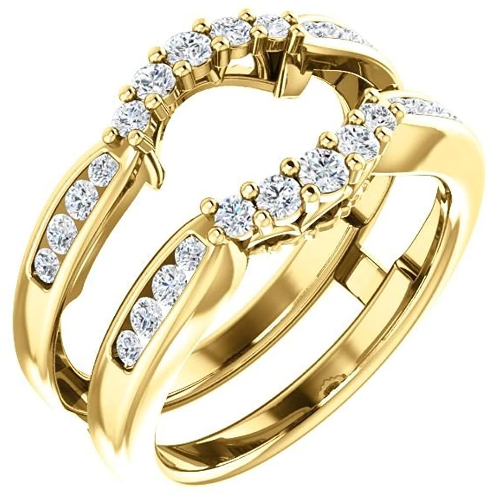 Bonyak Jewelry 14k Yellow Gold 1/2 CTW Diamond Ring Guard - Size 7