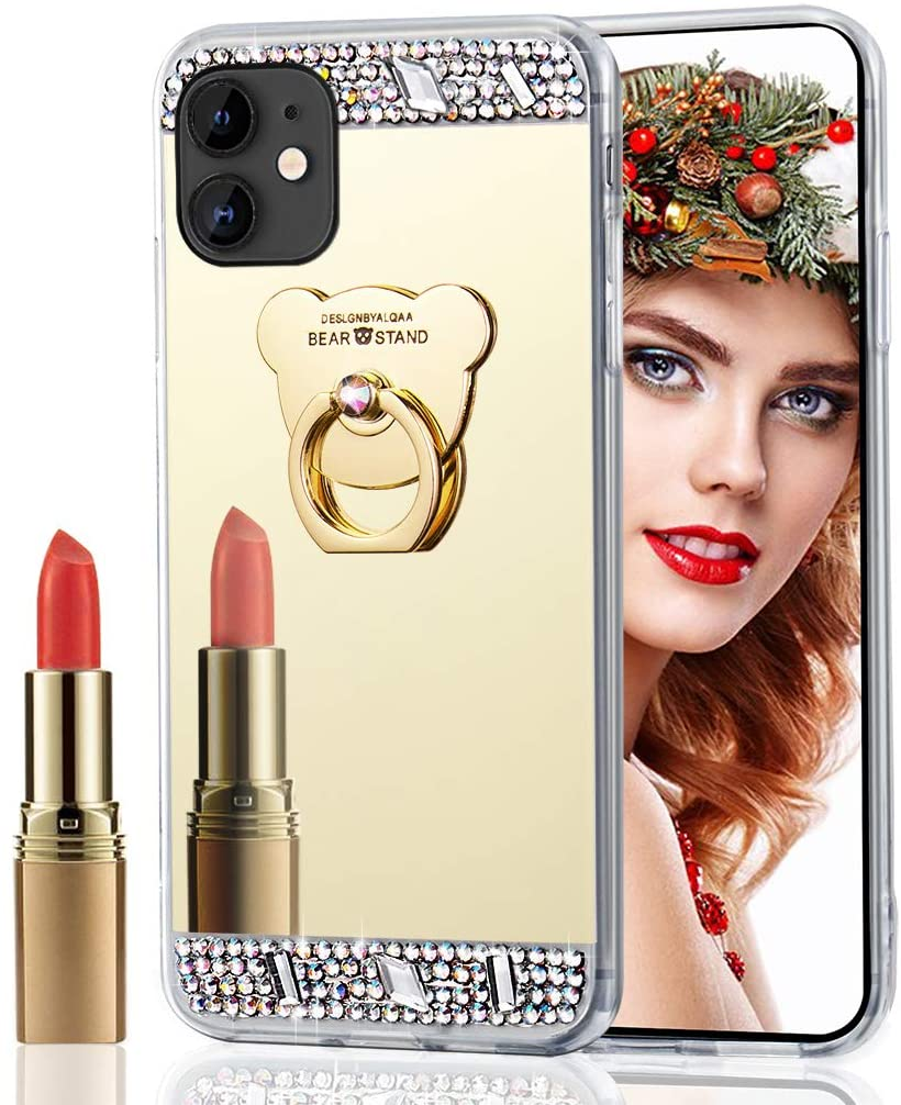 LEECOCO iPhone 11 Pro Max Case Glitter Crystal Bear Mirror Makeup Silicon TPU Soft Rubber Case with Bear Ring Stand Holder Cover for iPhone 11 Pro Max Bear Mirror TPU Gold