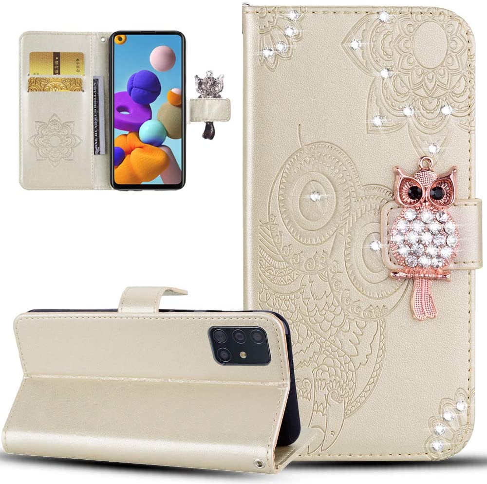 ISADENSER Samsung S20 Ultra Case Galaxy S20 Ultra Case Glitter Bling Diamond Case with Cards Slot Cash Embossing PU Leather Flip Wallet Case for Samsung Galaxy S20 Ultra, Crystal Owl Gold YK