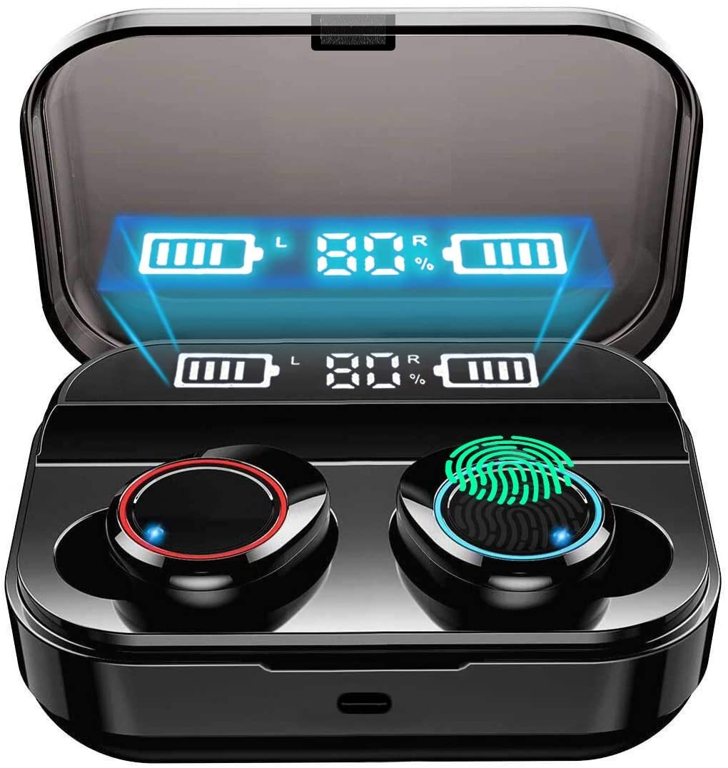 Wireless Earbuds, True Bluetooth 5.0 Ear Buds Headphones with Charging Case, Truly Portable in-Ear IPX7 Waterproof TWS Earphones with Microphone Stereo Sound with Bass for Sport