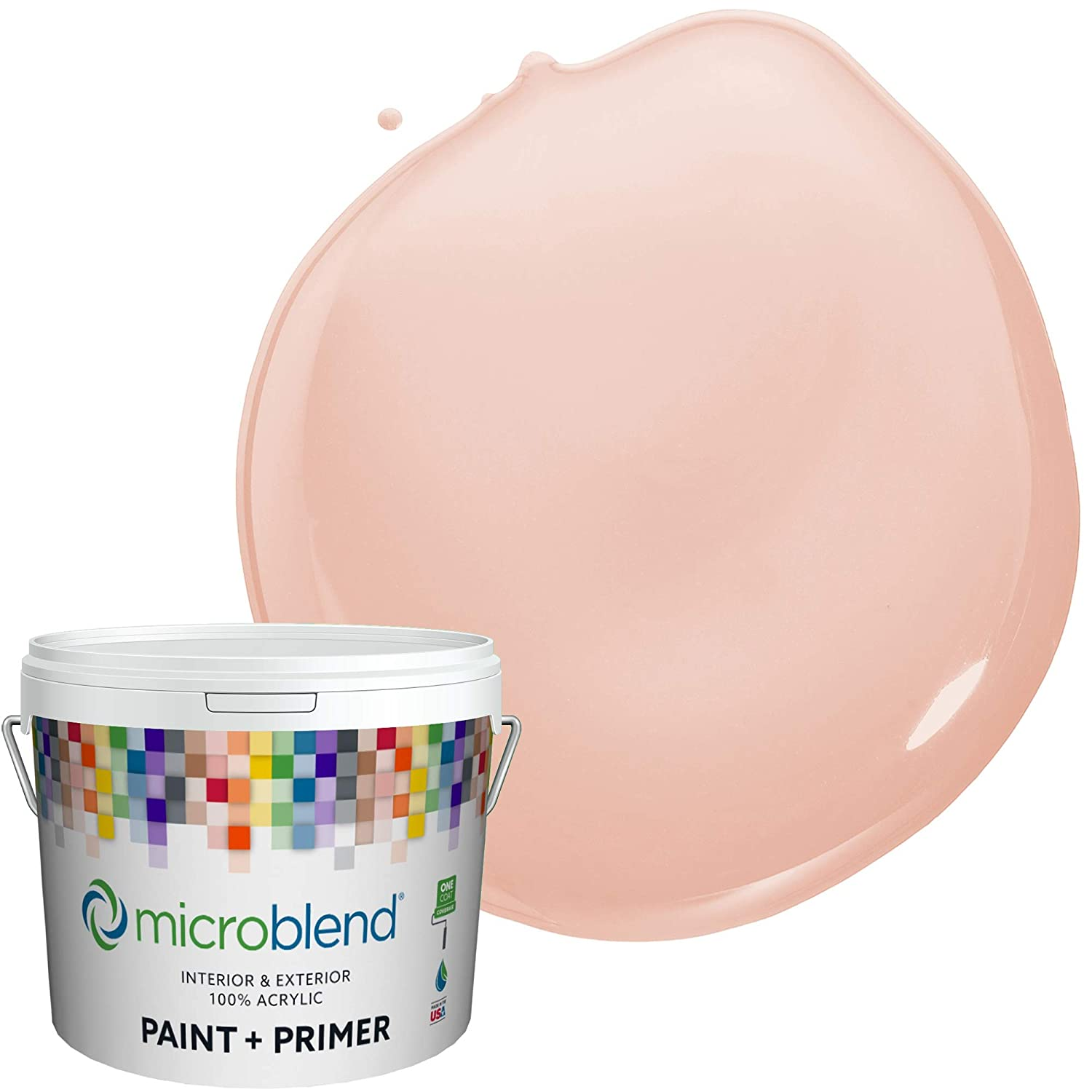 Microblend Interior Paint and Primer - Pink/Gypsy Bell, Flat Sheen, 2-Gallon, Premium Quality, One Coat Hide, Low VOC, Washable, Microblend Reds Family