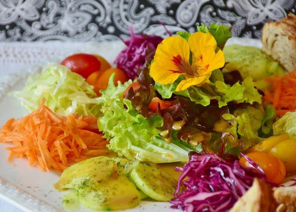 LAMINATED 33x24 inches POSTER: Salad Salad Plate Plate Cutlery Tableware Porcelain Do Decorate Pleasure Taste Present Mixed Salad Cucumbers Tomatoes White Cabbage Red Cabbage Kohl Paprika