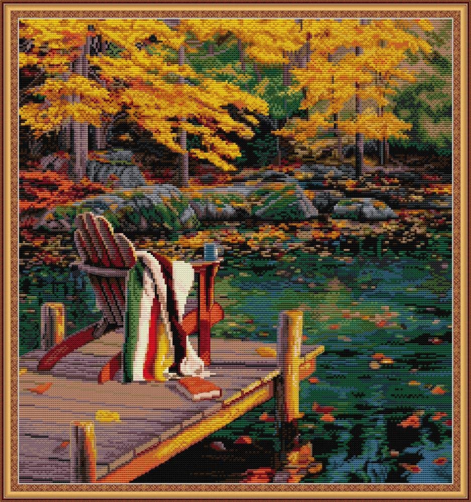 Maydear Cross Stitch Kits Stamped Full Range of Embroidery Starter Kits for Beginners DIY 14 CT 2 Strands - Maple Lake 18.90×20.08 inch