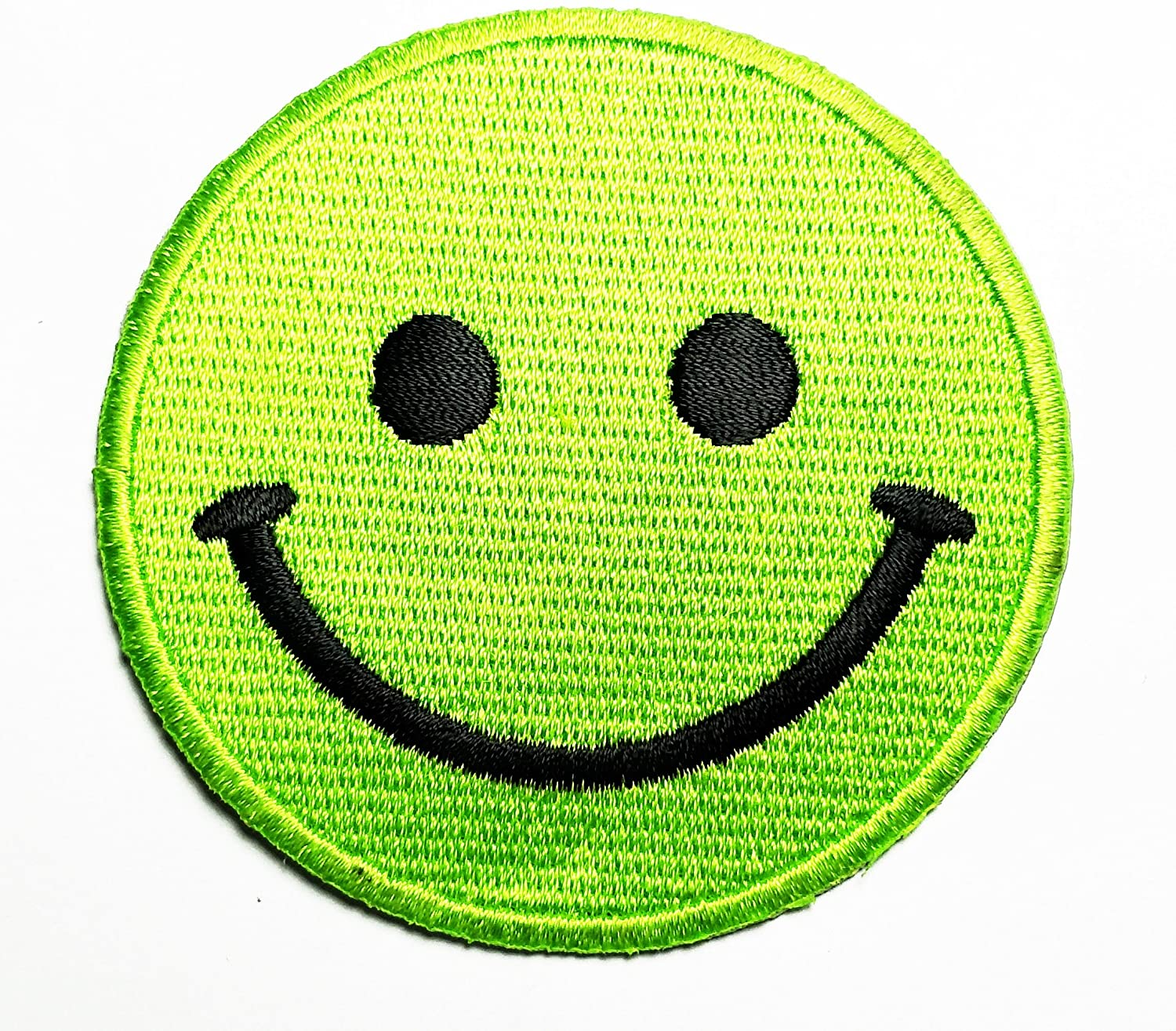 HHO Green Smile face Emoji Patch Embroidered DIY Patches, Cute Applique Sew Iron on Kids Craft Patch for Bags Jackets Jeans Clothes