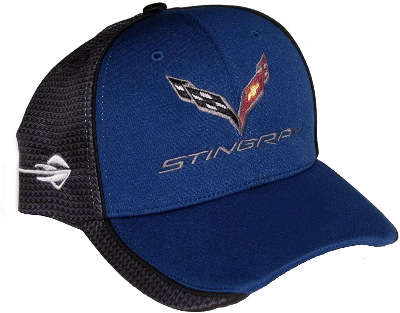 Gregs Automotive C7 Carbon Fiber Print Blue/Gray Logo Hat Cap Compatible with Chevrolet Chevy Corvette - Bundle with Driving Style Decal