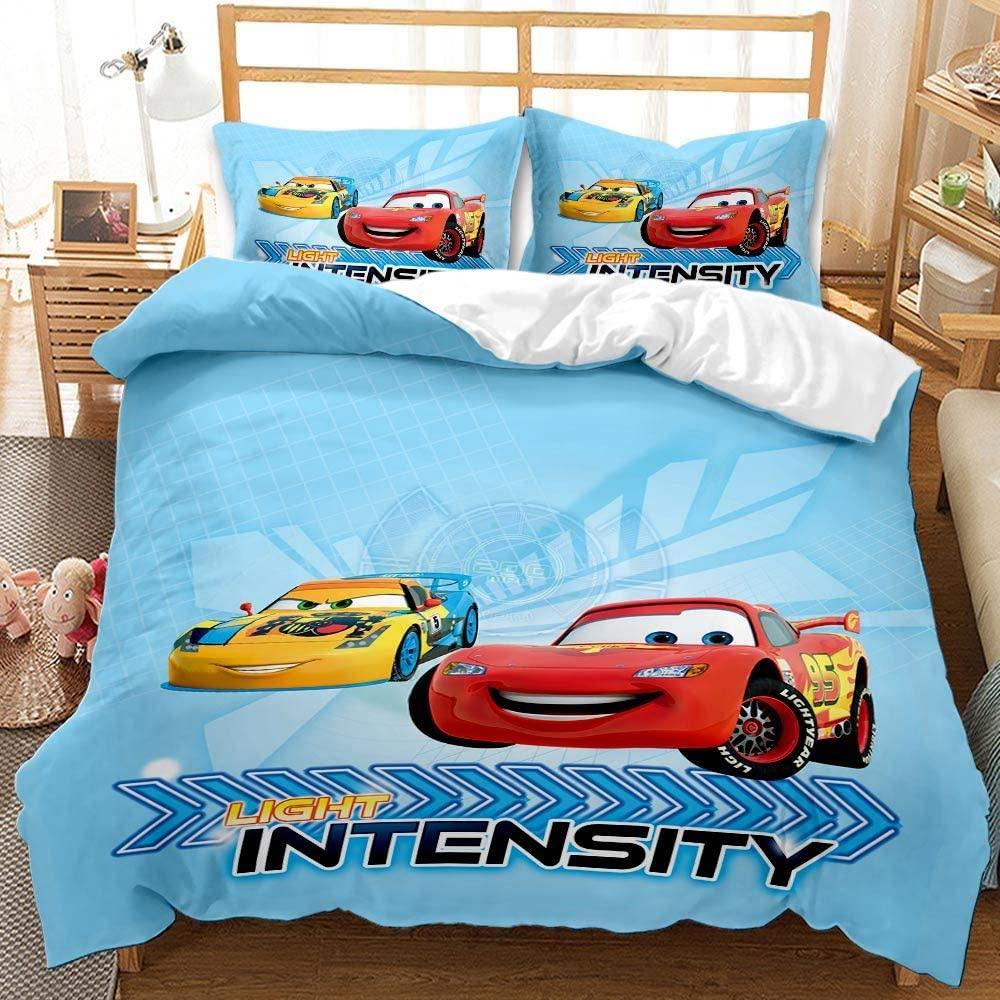 Yumhi Lightning McQueen Duvet Cover Set King Size 3PCS for Boys Kids Comforter Cover Blue Bedding Set(1 Duvet Cover+2 Pillow sham)