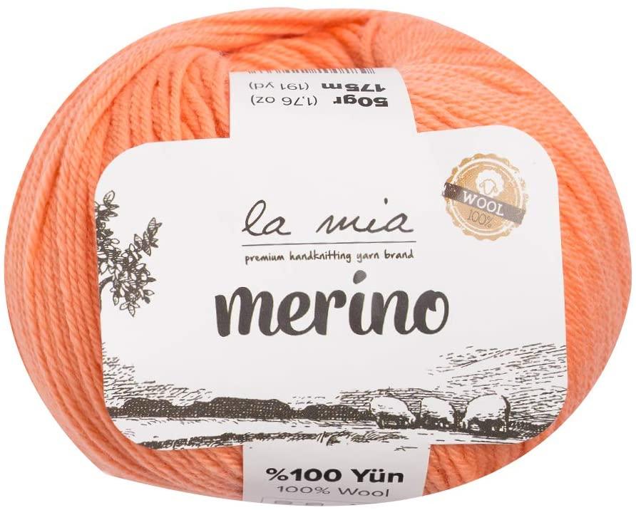 5 Ball La Mia%100 Merino Wool Total 8.8 Oz. Each 1.76 Oz (50g) / 191 Yrds (175m), Fine, Sport, Premium Softest Natural Yarn, Pink - L089