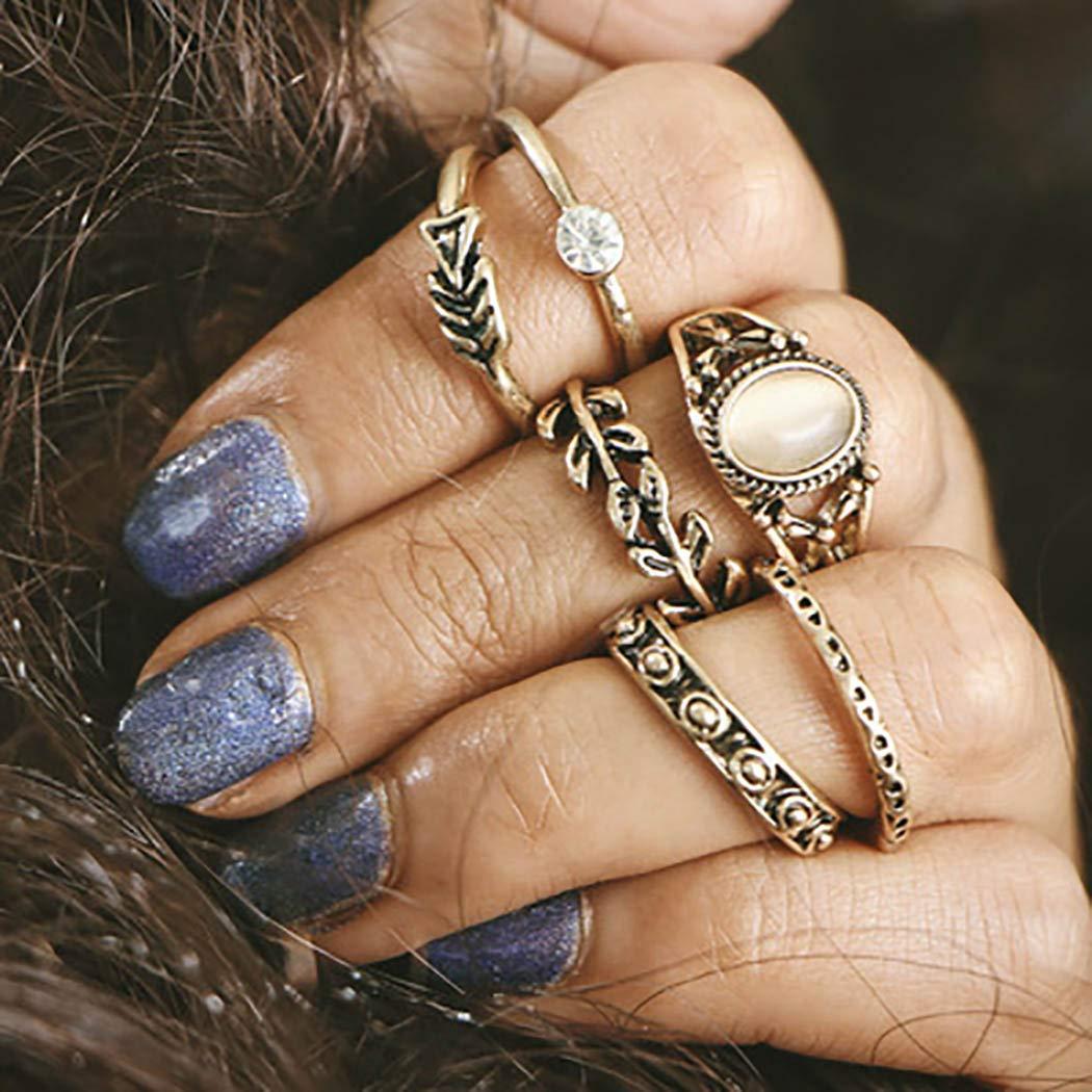 Abien Vintage Crystal Knuckle Rings Gold Leaf Stackable Rings Set Opal Joint Finger Rings Midi Finger Ring for Women and Girls (6 Pcs)