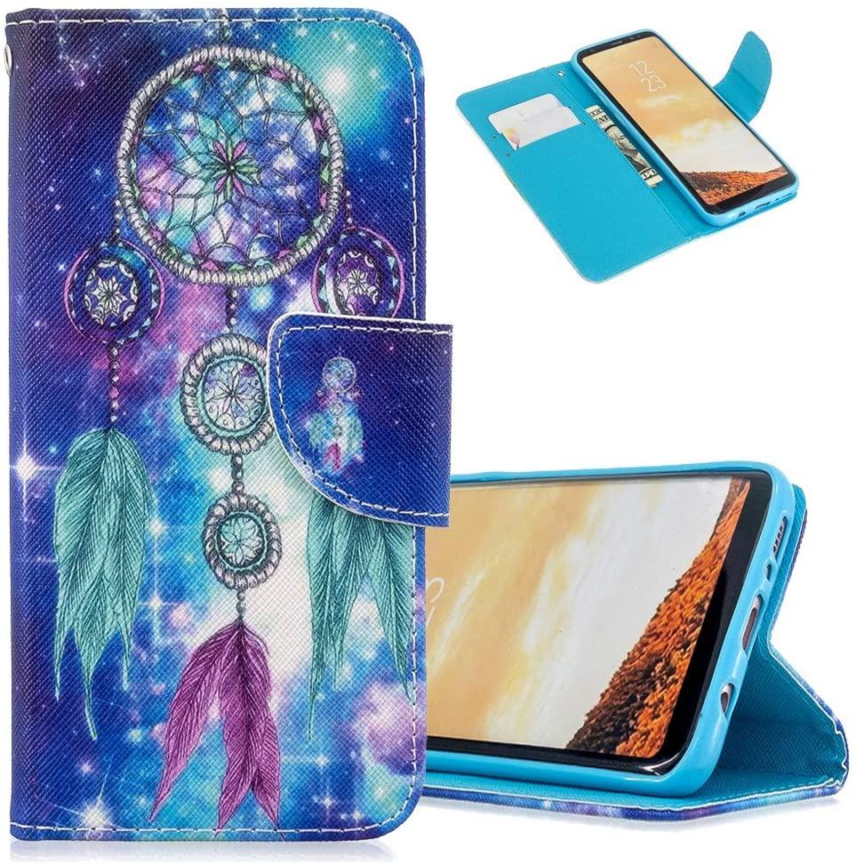 MRSTERUS for Galaxy S9 Plus Case Exquisite PU Leather flip Notebook Wallet case Magnetic Bracket Slot Bumper case Light Design Painted case for Galaxy S9 Plus Dreamcatcher HX